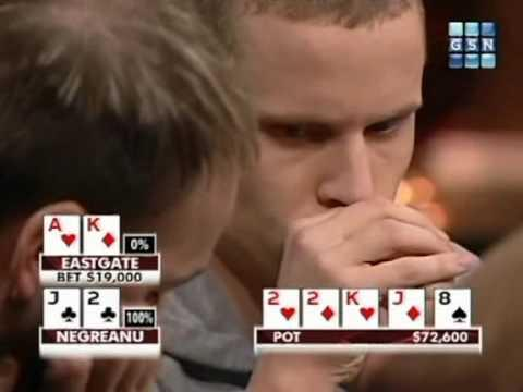 High Stakes Poker - Negreanu and Eastgate Both Flop Big
